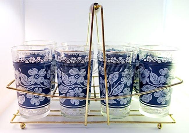 Vintage Cornflower Blue Glass Set in Caddy