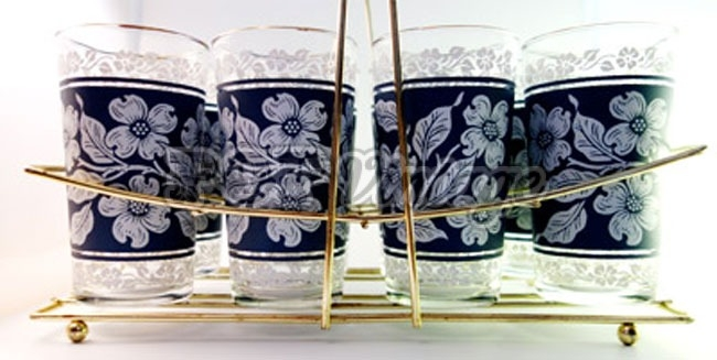 Vintage Cornflower Blue Glass Set in Caddy