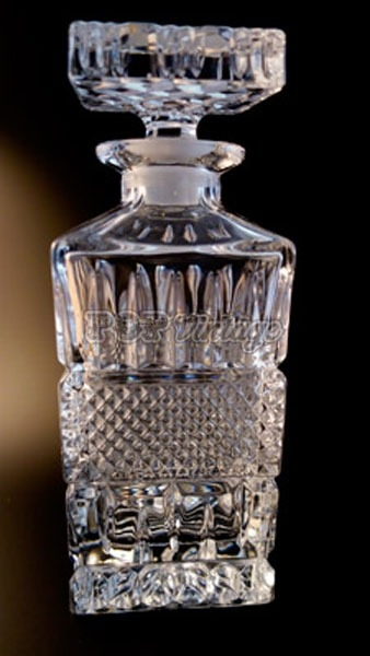 Stunning Square Crystal Decanter with Six Glasses